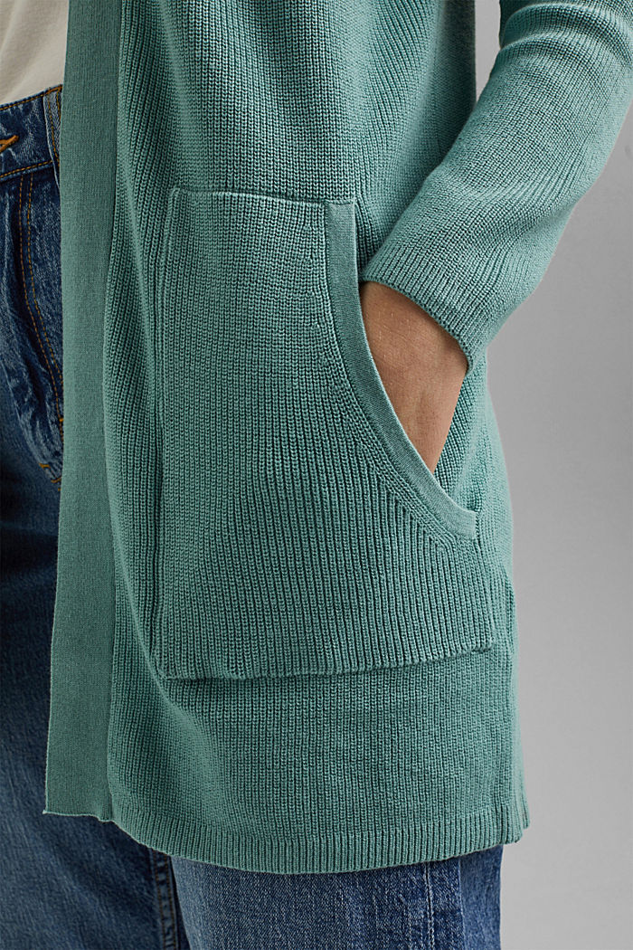 Long cardigan made of 100% organic cotton, DUSTY GREEN, detail image number 2