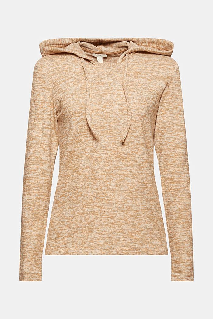 Recycled: melange jersey hoodie, CARAMEL, detail image number 5