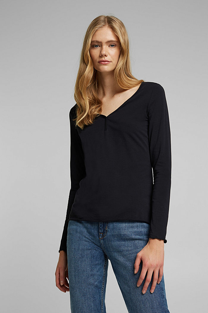 Long sleeve top made of organic cotton, BLACK, overview
