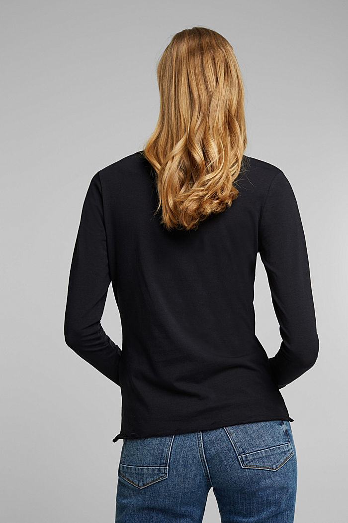 Long sleeve top made of organic cotton, BLACK, detail image number 3