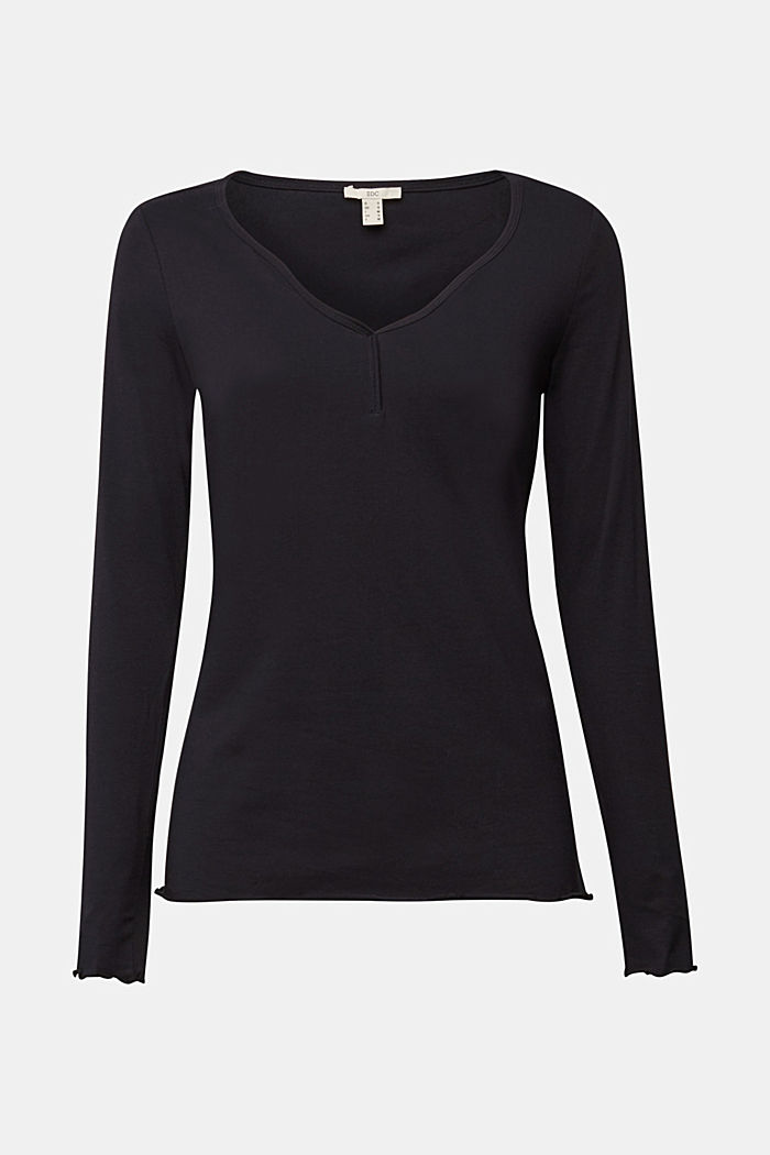 Long sleeve top made of organic cotton, BLACK, detail image number 5