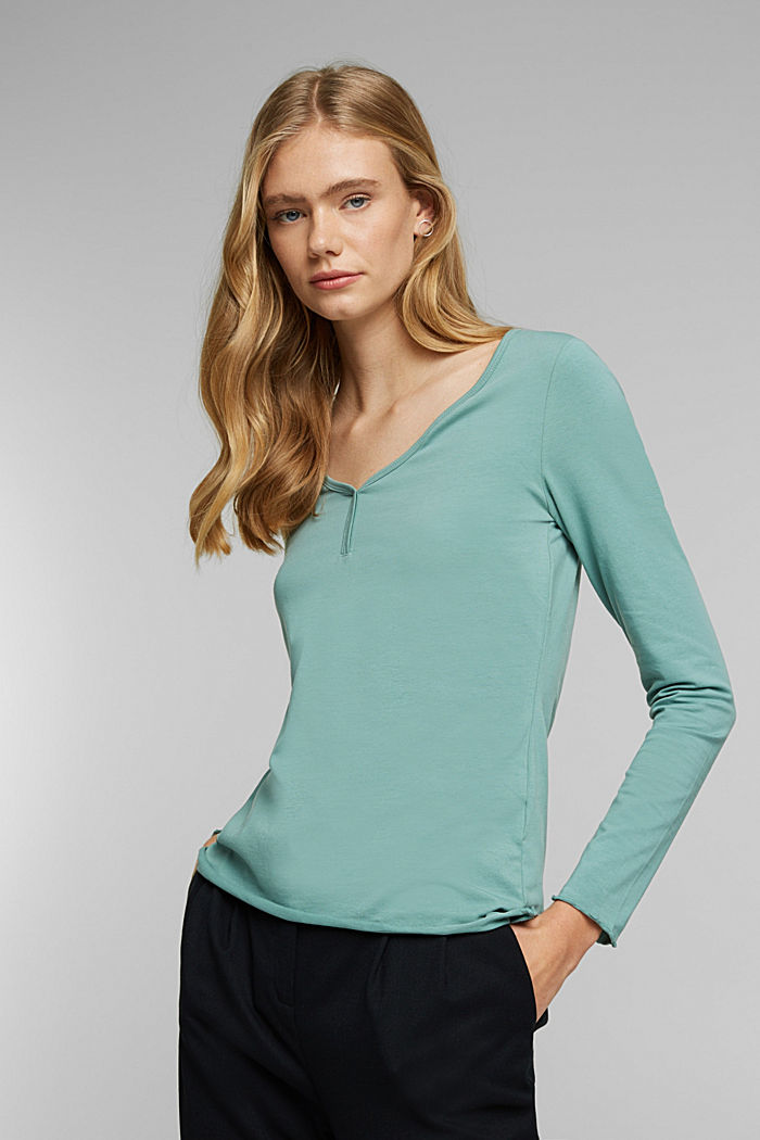 Long sleeve top made of organic cotton, DUSTY GREEN, detail image number 0