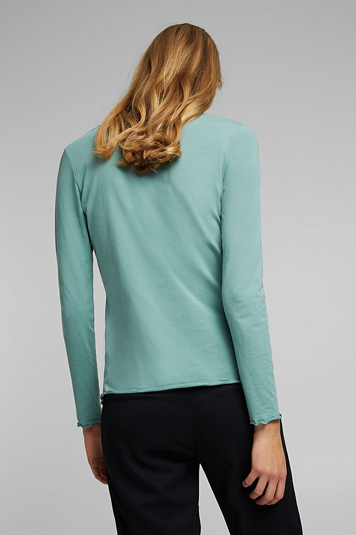 Long sleeve top made of organic cotton, DUSTY GREEN, detail image number 3