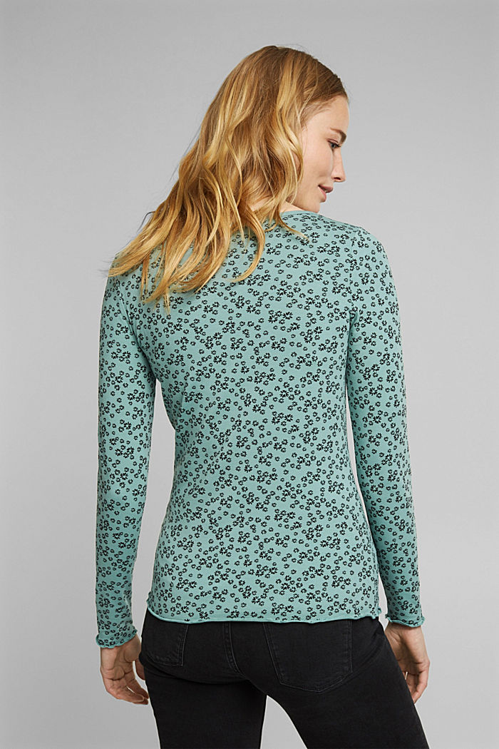 Long sleeve top with organic cotton, DUSTY GREEN, detail image number 3