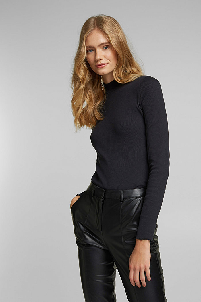 Ribbed jersey body made of organic cotton, BLACK, detail image number 0