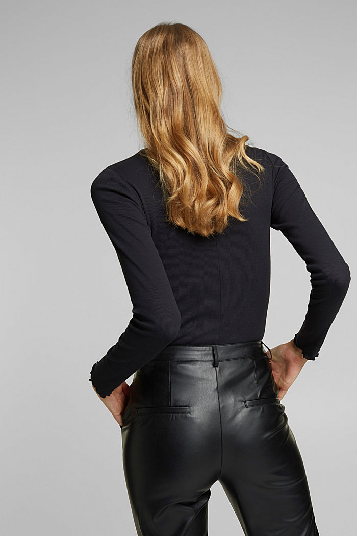 Ribbed jersey body made of organic cotton, BLACK, detail image number 3