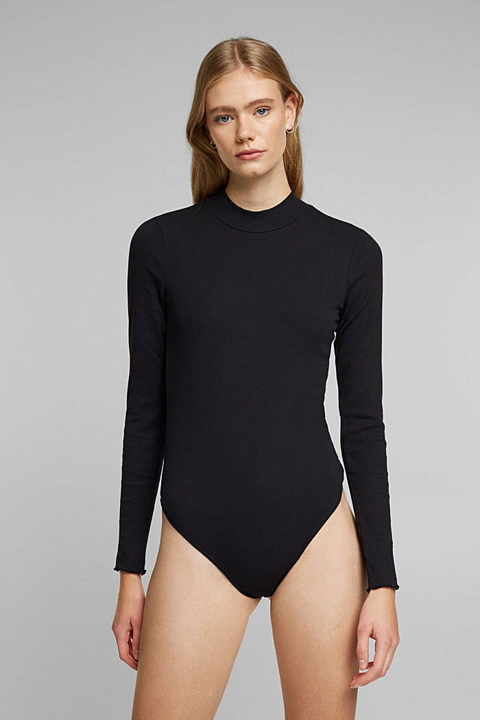 Ribbed jersey body made of organic cotton, BLACK, detail image number 5