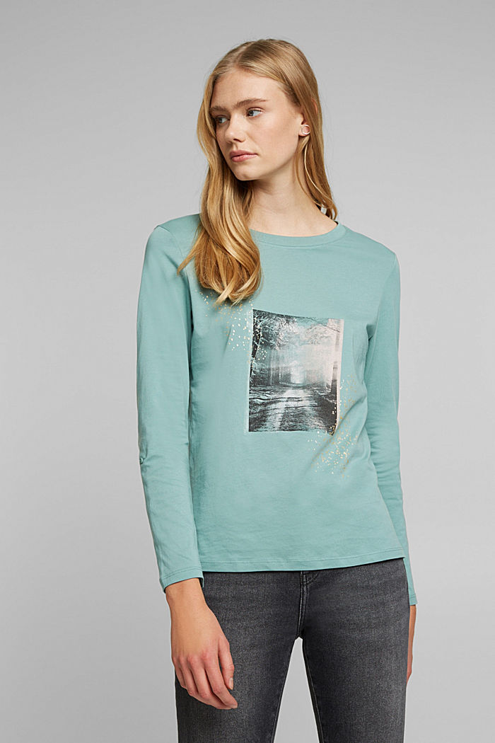 Long sleeve top made of 100% organic cotton, DUSTY GREEN, detail image number 0