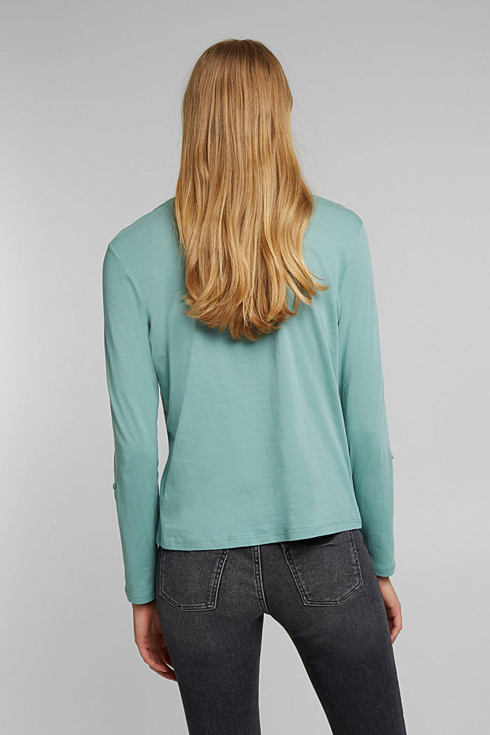 Long sleeve top made of 100% organic cotton, DUSTY GREEN, detail image number 3