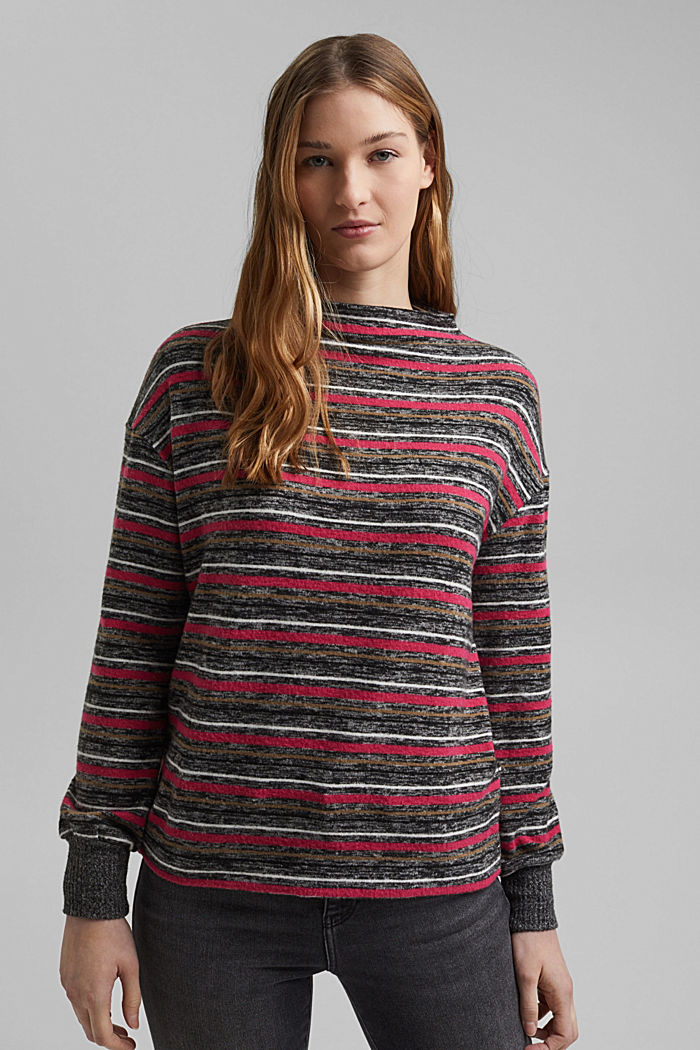 Knit-effect striped long sleeve top