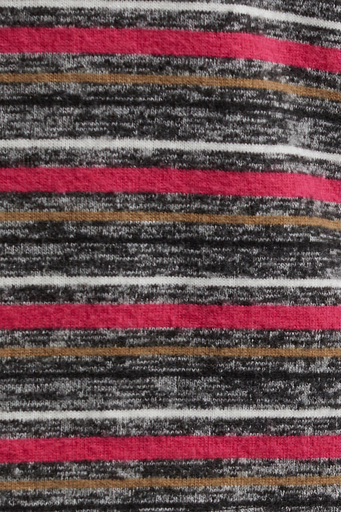 Knit-effect striped long sleeve top, GUNMETAL, detail image number 4