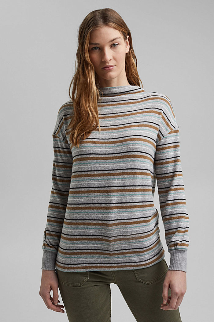 Knit-effect striped long sleeve top, LIGHT GREY, detail image number 0