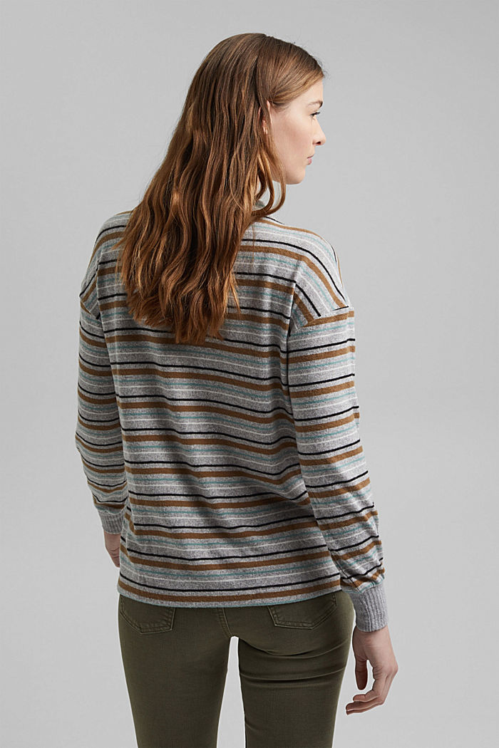Knit-effect striped long sleeve top, LIGHT GREY, detail image number 3
