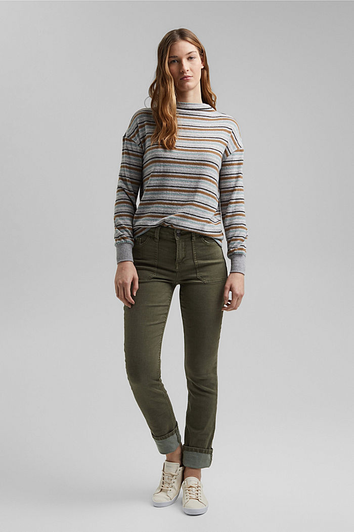 Knit-effect striped long sleeve top, LIGHT GREY, detail image number 1