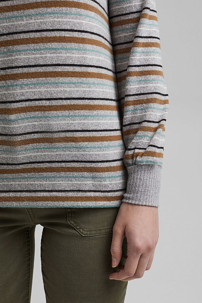 Knit-effect striped long sleeve top, LIGHT GREY, detail image number 5