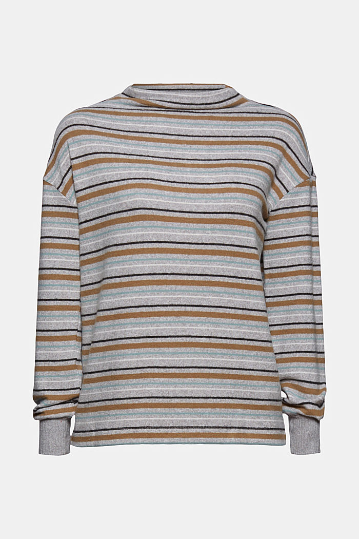 Knit-effect striped long sleeve top, LIGHT GREY, detail image number 6