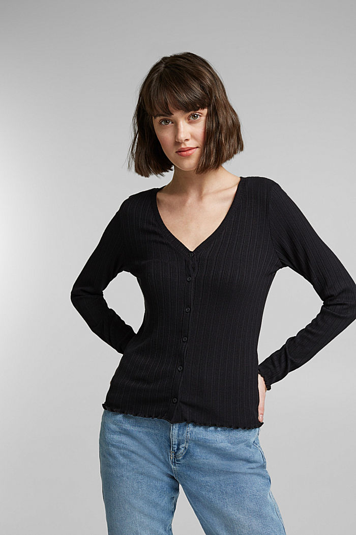 Long sleeve top made of LENZING™ ECOVERO™, BLACK, detail image number 0