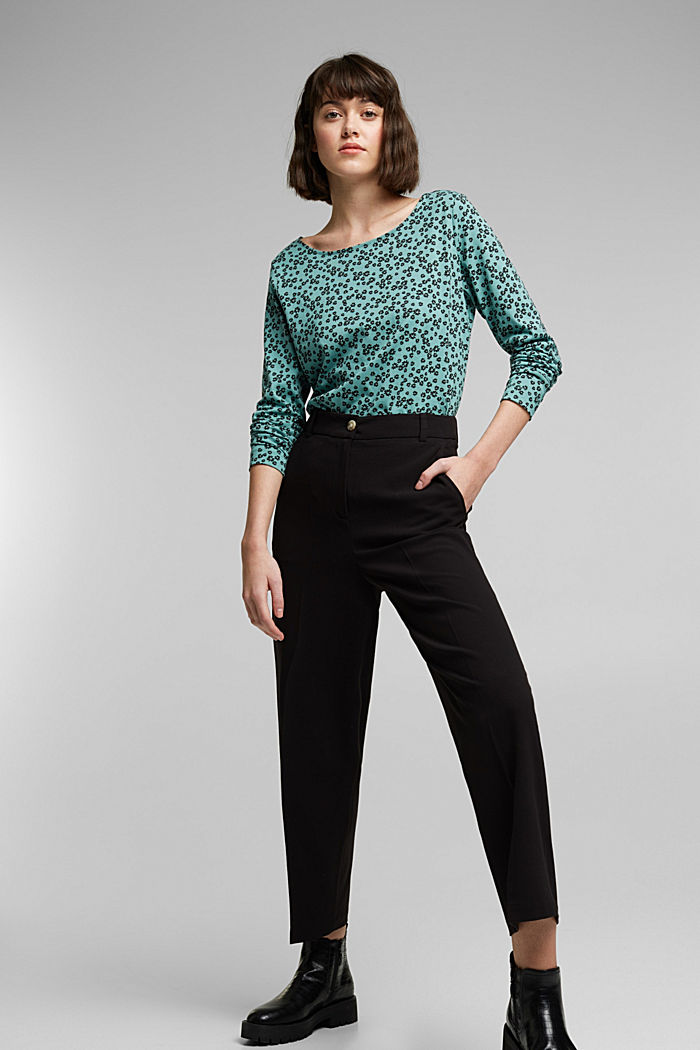 Long sleeve top made of 100% organic cotton, DUSTY GREEN, detail image number 1