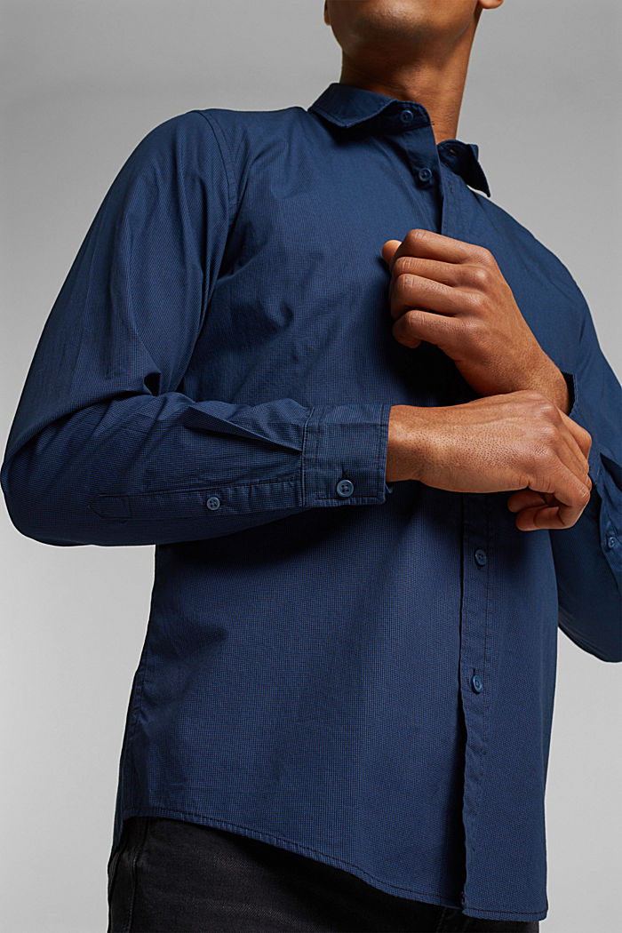 Shirt with micro pattern, 100% organic cotton, NAVY, detail image number 2