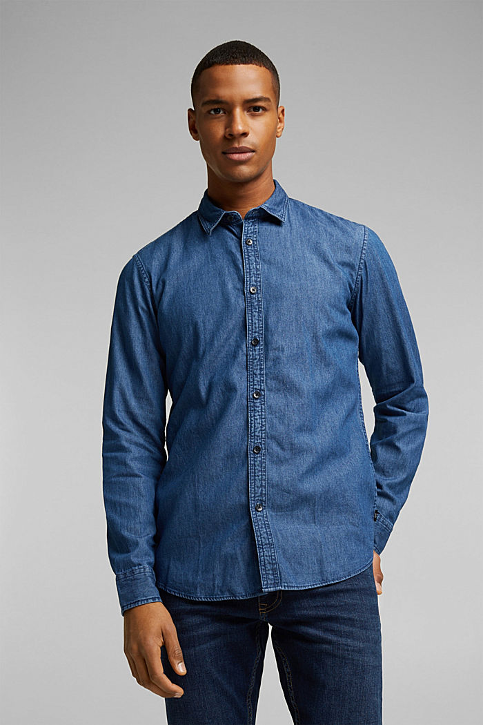 Denim shirt made of 100% organic cotton, BLUE MEDIUM WASHED, detail image number 0