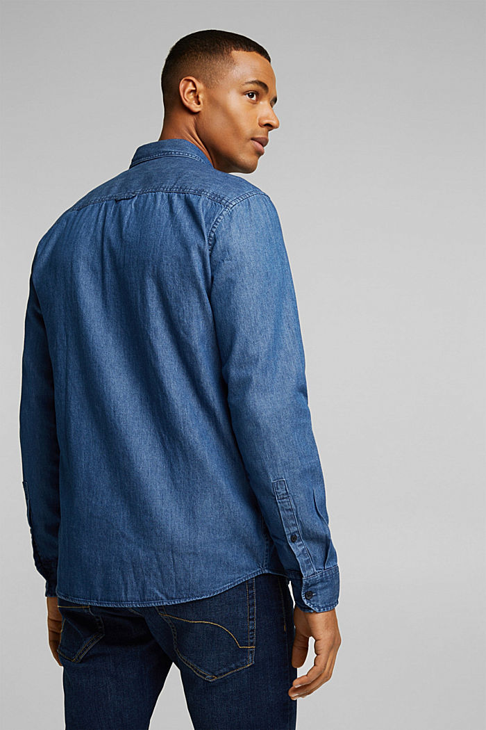 Denim shirt made of 100% organic cotton, BLUE MEDIUM WASHED, detail image number 3