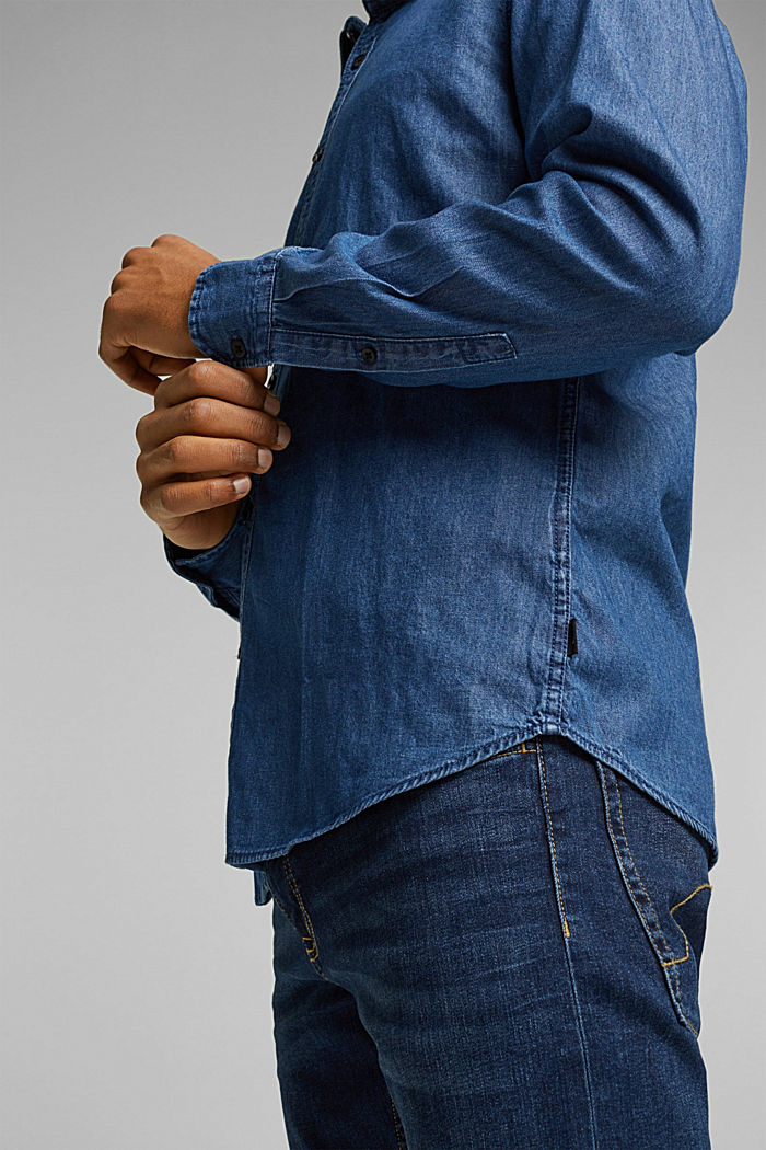 Denim shirt made of 100% organic cotton, BLUE MEDIUM WASHED, detail image number 2