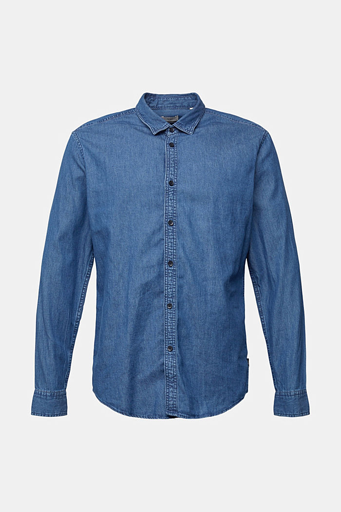 Denim shirt made of 100% organic cotton, BLUE MEDIUM WASHED, detail image number 7
