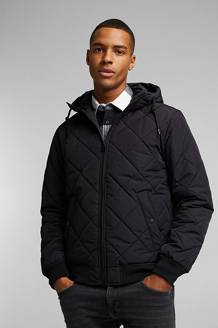 Recycled: bomber-style quilted jacket, BLACK, detail image number 0