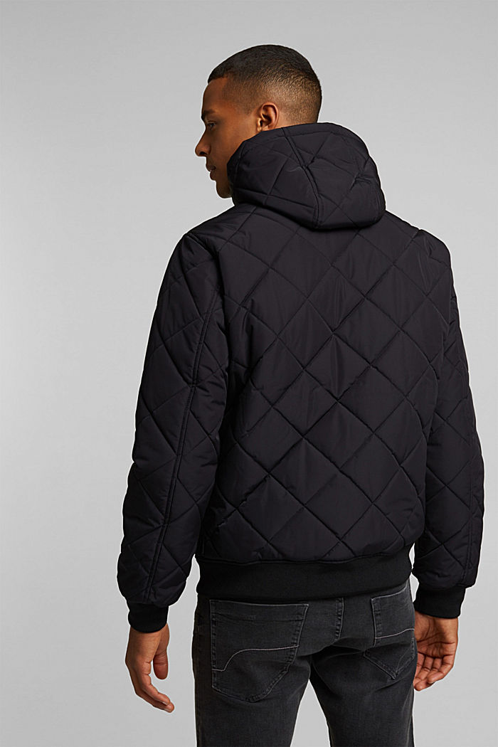 Recycled: bomber-style quilted jacket, BLACK, detail image number 3