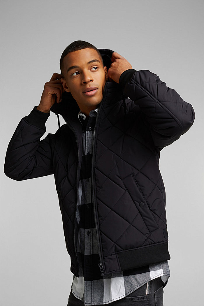Recycled: bomber-style quilted jacket, BLACK, detail image number 4