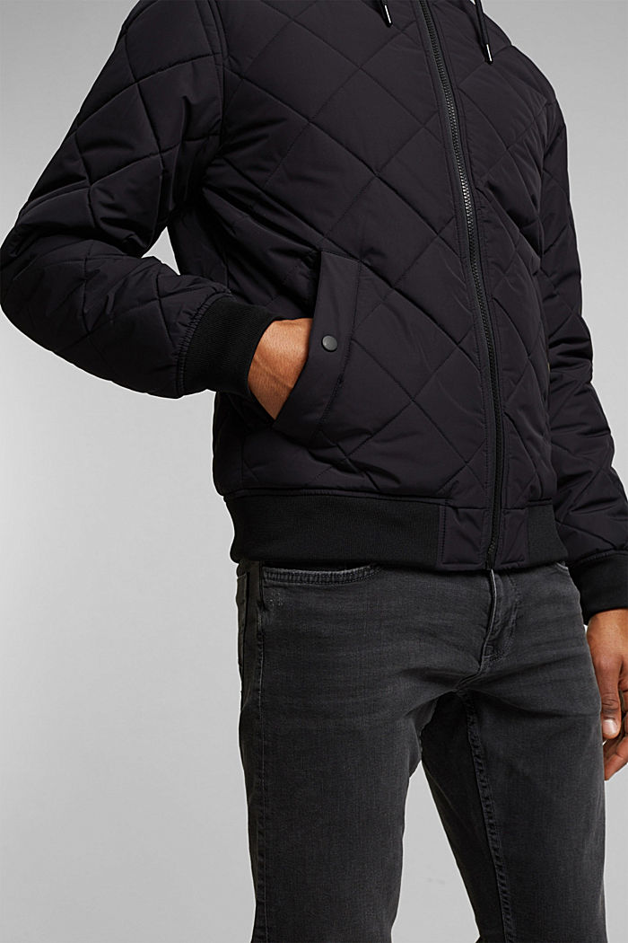Recycled: bomber-style quilted jacket, BLACK, detail image number 2