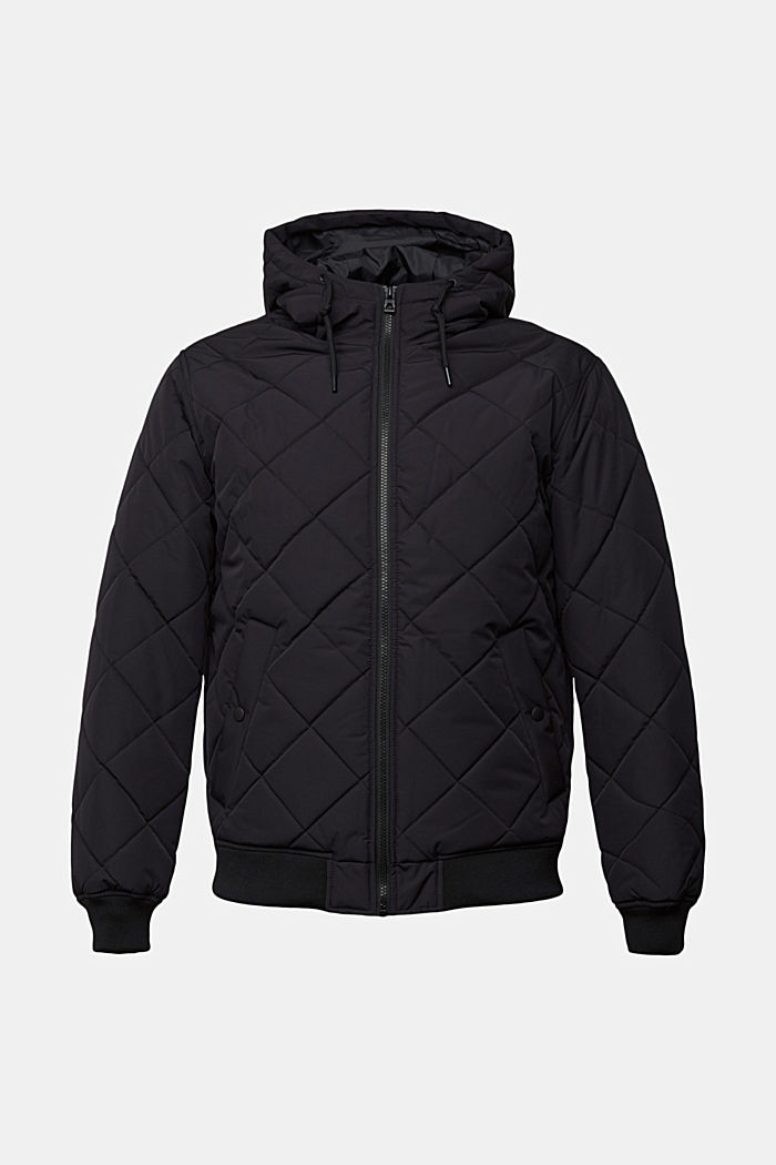 Recycled: bomber-style quilted jacket, BLACK, detail image number 6