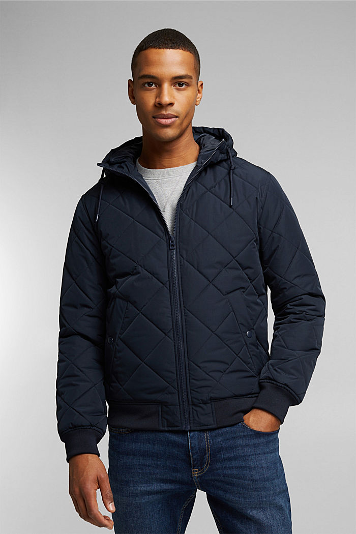 Recycled: bomber-style quilted jacket, NAVY, detail image number 0