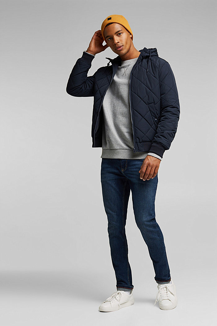 Recycled: bomber-style quilted jacket, NAVY, detail image number 1