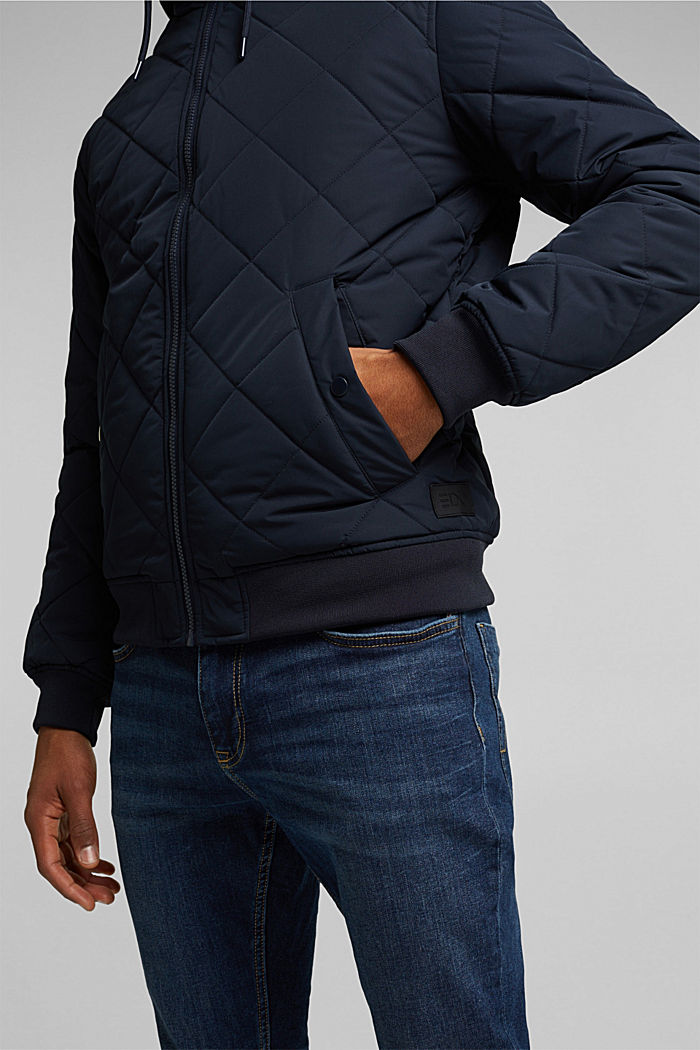 Recycled: bomber-style quilted jacket, NAVY, detail image number 2