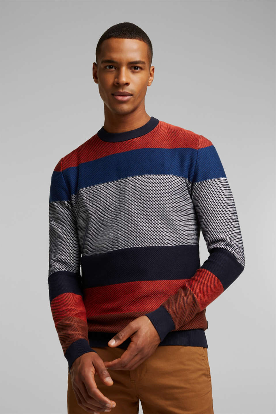 edc - Striped jumper made of 100% organic cotton
