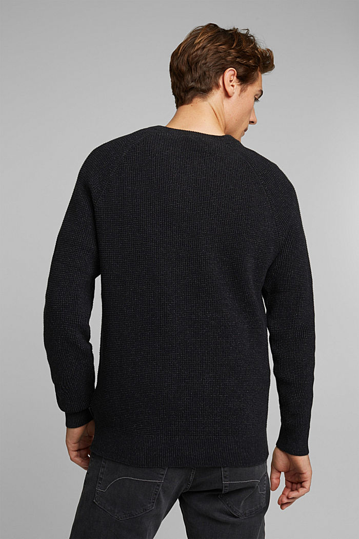 Textured jumper made of 100% organic cotton, BLACK, detail image number 3
