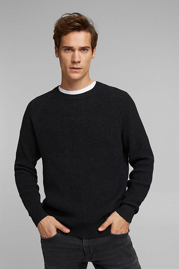 Textured jumper made of 100% organic cotton, BLACK, detail image number 6