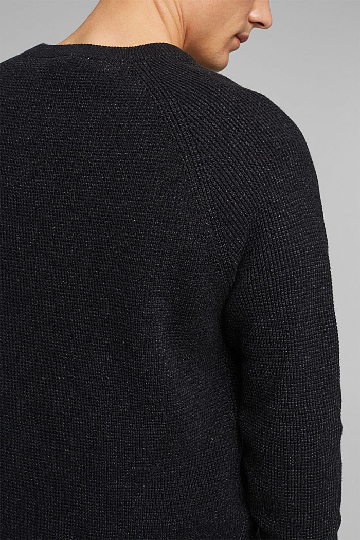 Textured jumper made of 100% organic cotton, BLACK, detail image number 2