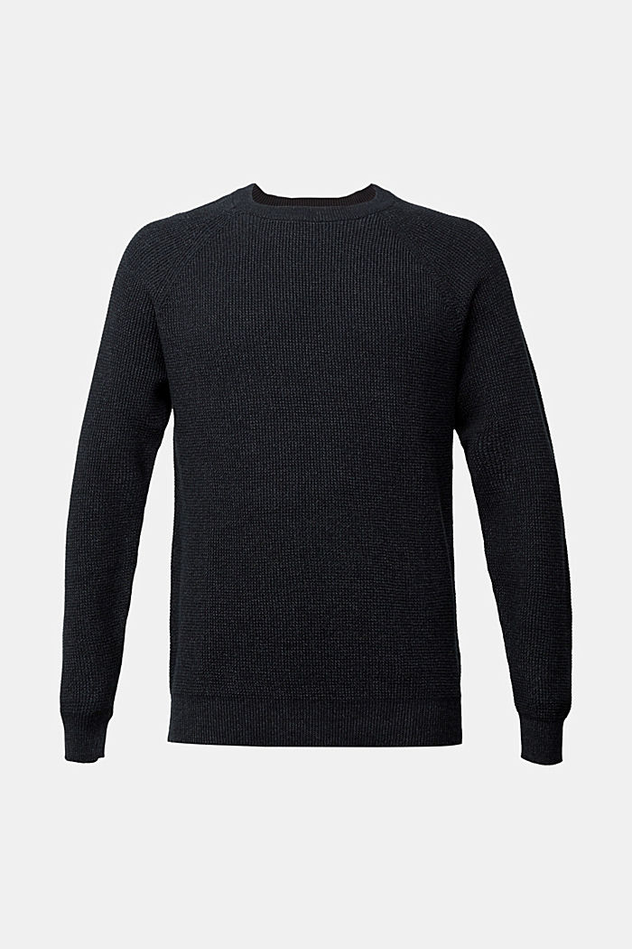 Textured jumper made of 100% organic cotton, BLACK, detail image number 7