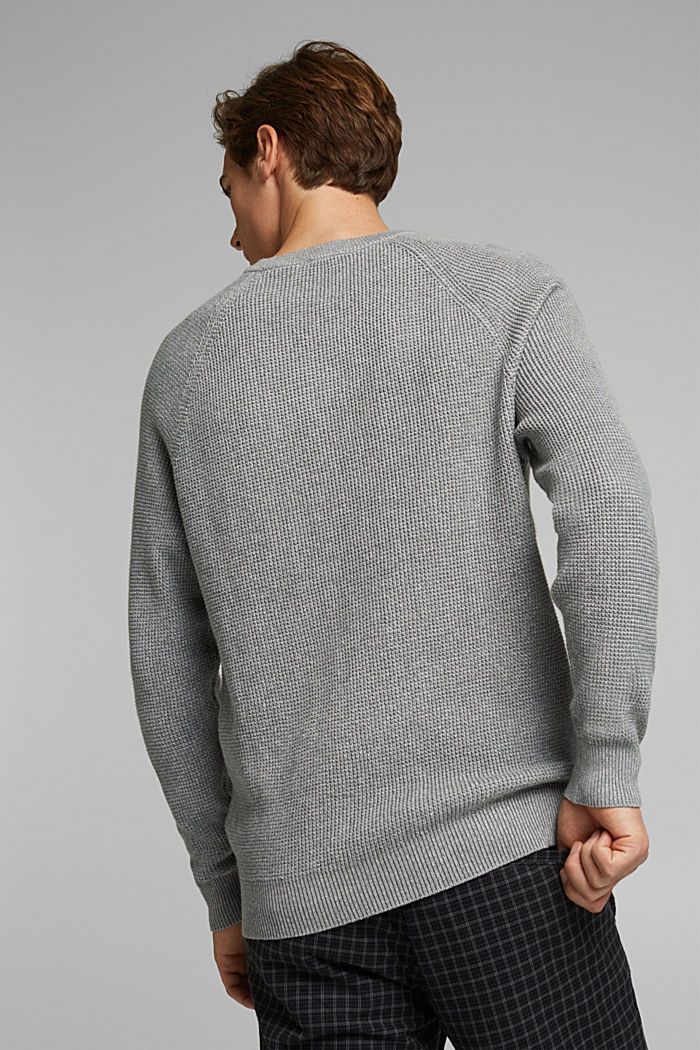 Textured jumper made of 100% organic cotton, MEDIUM GREY, detail image number 3