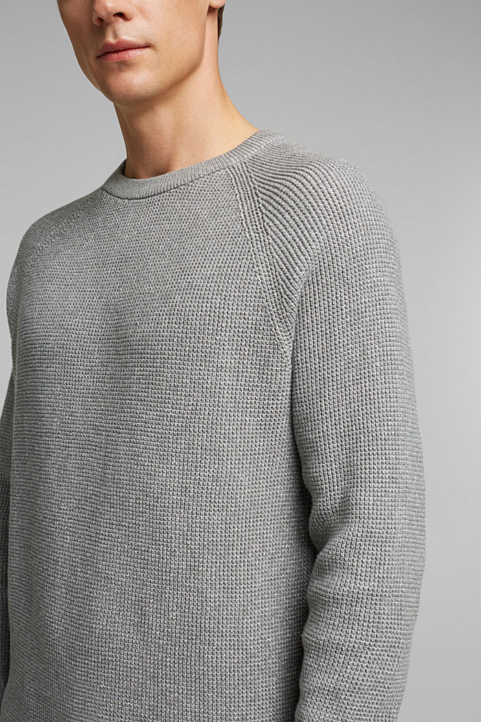 Textured jumper made of 100% organic cotton, MEDIUM GREY, detail image number 2