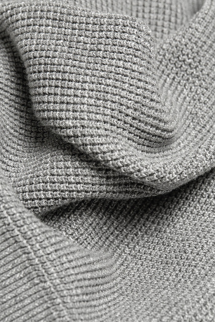 Gestructureerde trui van 100% organic cotton, MEDIUM GREY, detail image number 4