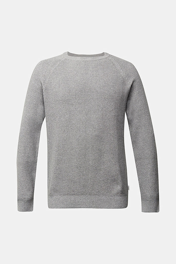 Gestructureerde trui van 100% organic cotton, MEDIUM GREY, detail image number 7