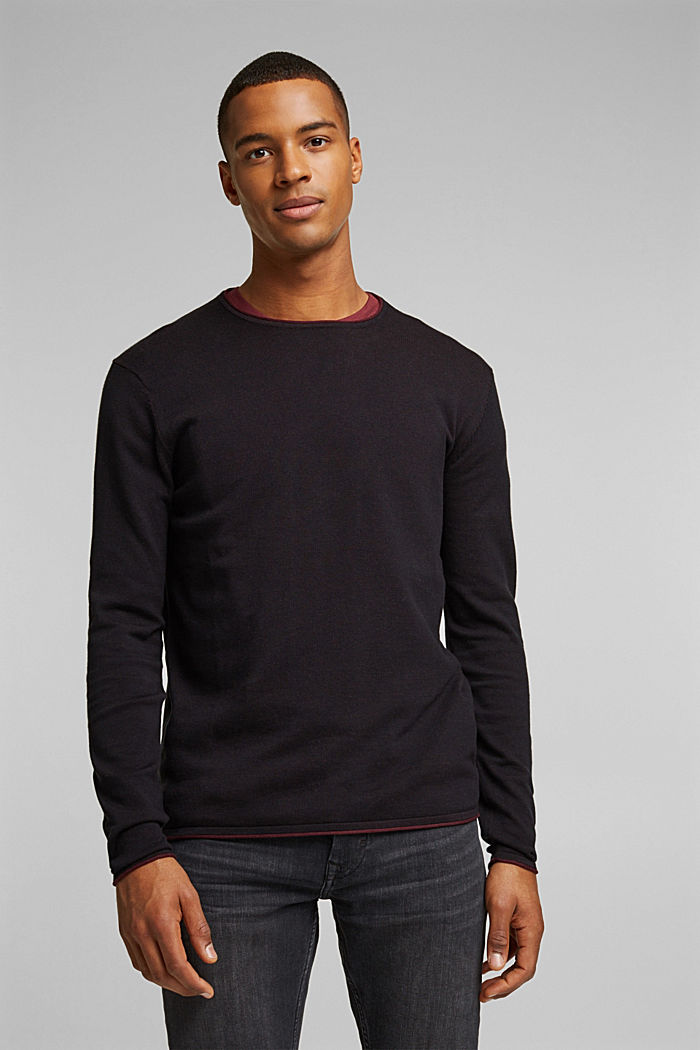 Fine knit jumper made of organic cotton, BLACK, detail image number 0