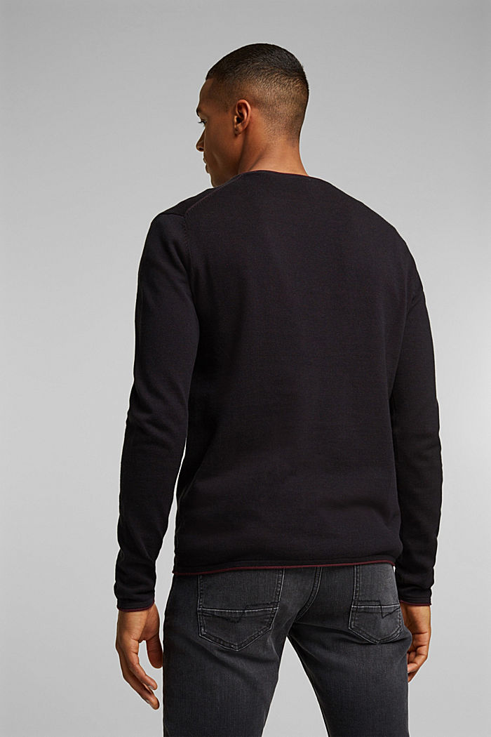 Fine knit jumper made of organic cotton, BLACK, detail image number 3