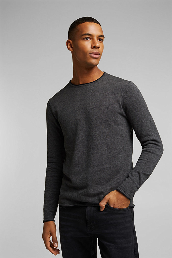 Fine knit jumper made of organic cotton, DARK GREY, detail image number 0