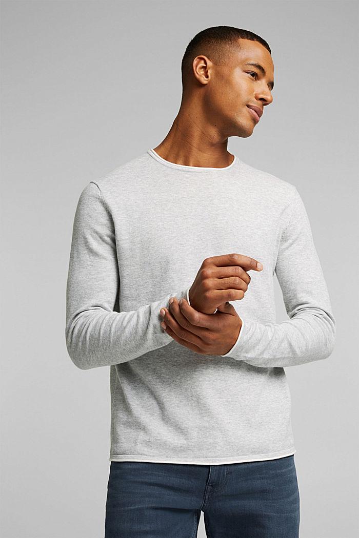 Fine knit jumper made of organic cotton, LIGHT GREY, detail image number 0