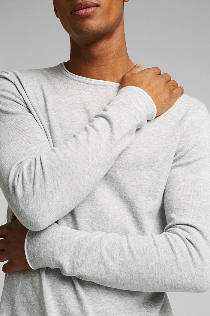 Fine knit jumper made of organic cotton, LIGHT GREY, detail image number 2