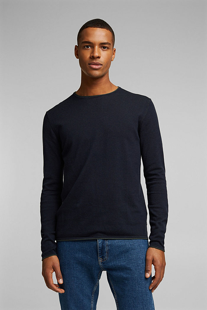 Fine knit jumper made of organic cotton, NAVY, detail image number 0